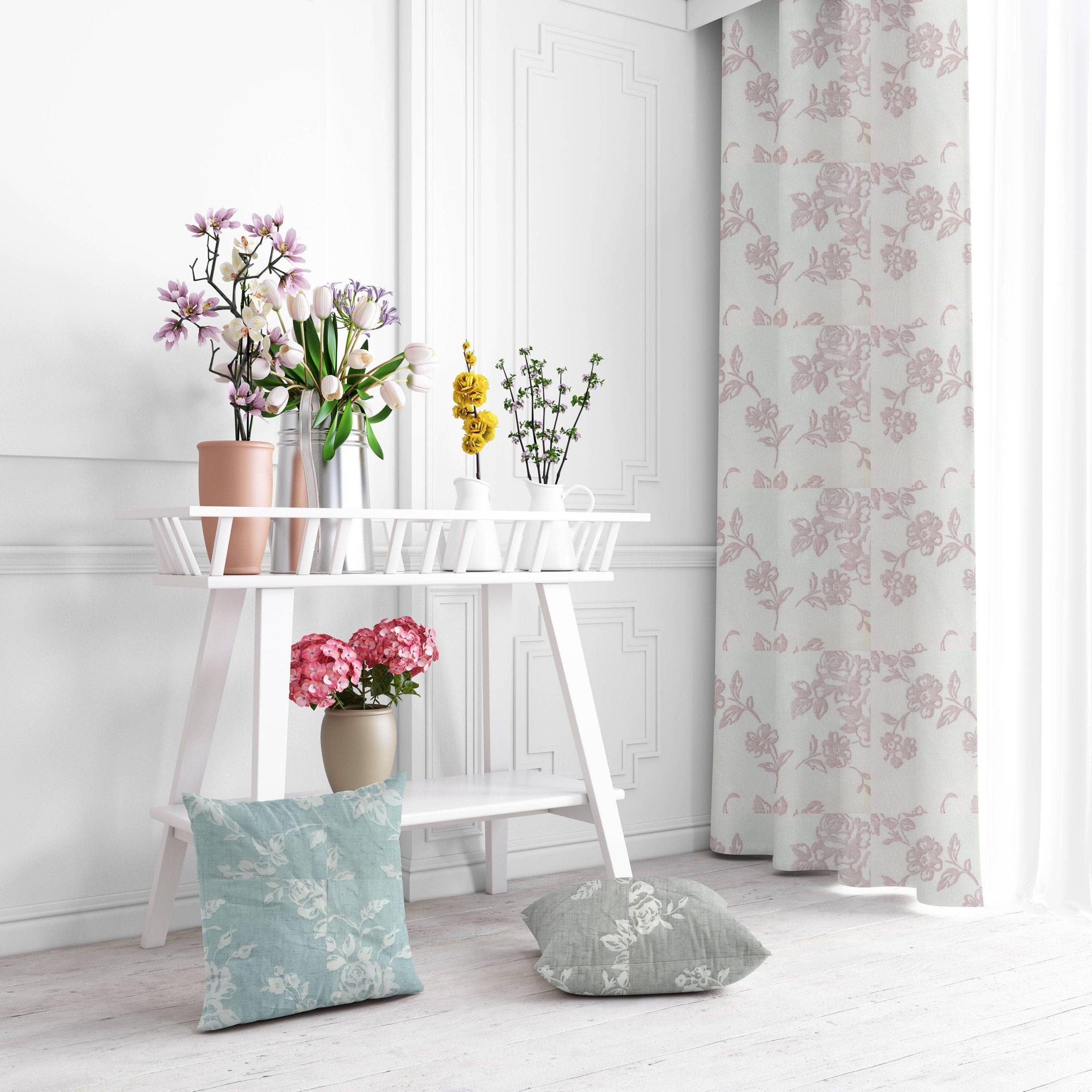 ημιδιαφανη κουρτινα floral rosa