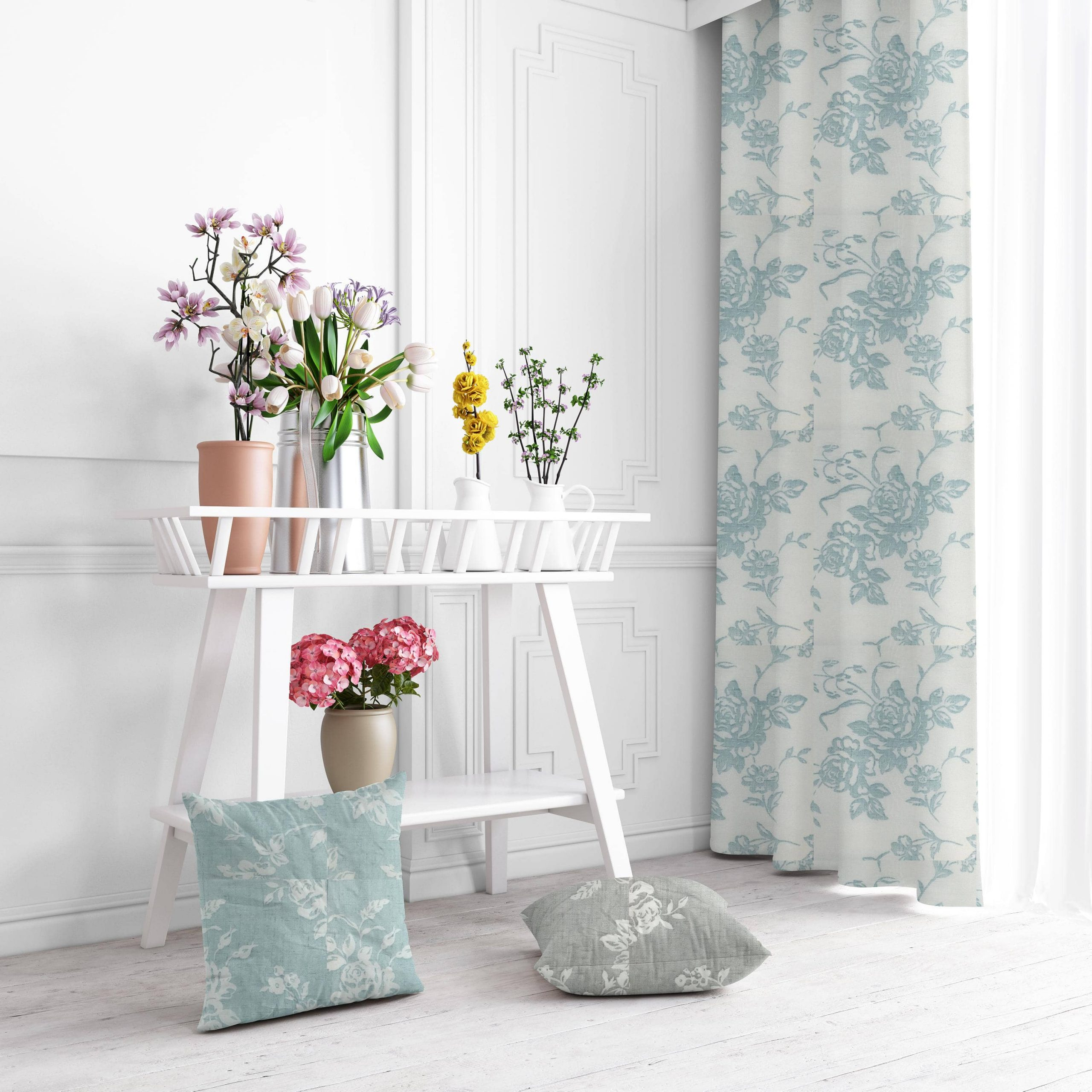 ημιδιαφανη κουρτινα floral turquoise