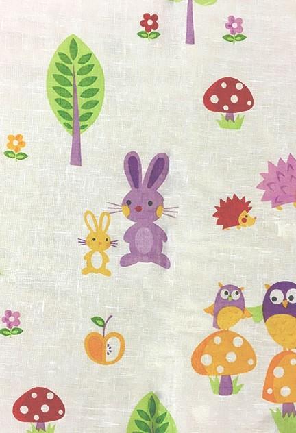 Κομψή Γάζα τυπωμένη με παιδικά χαρούμενα σχέδια σε όμορφα φωτεινά χρώματα, βαρύ και χυτό ύφασμα ιδανικό για κατασκευή κουρτίνας βρεφικού και παιδικού δωματίου